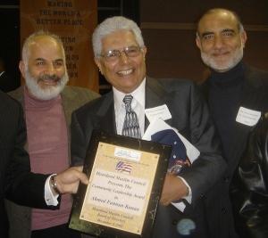"Heartland Muslim Council presented the ""Community Leadership Award to Ahmed Fannun Kanan in 2005.Photo: (L to R) Rushdy El-Ghussein, Sheikh Fannun Kanan, Dr. Abdul Rauf Mir"